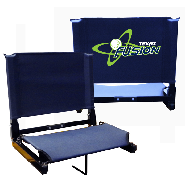 stadium chair navy with fusion atom logo on back side covey 39 s
